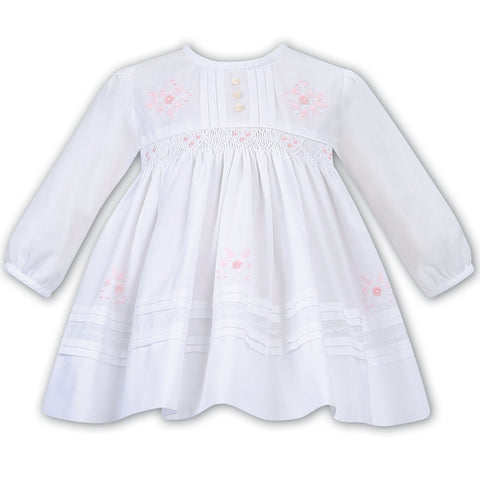 Sarah Louise - Hand smocked dress, white  011618