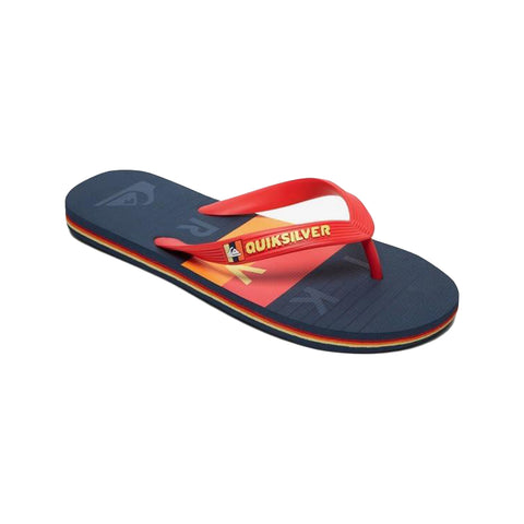 Molokai Word Block - Flip-Flops for Boys 8-16   Style : AQBL100425  Technical Features   Flexible 3-point synthetic rubber strap  Quiksilver branding and fine mould Mountain & Wave logo  Slip-resistant textured footbed  Pop colour pin lines in sidewall  Blown rubber outsole with multi-angled logo lugs for added traction   Composition  Upper: Synthetic / Outsole: Sponge Rubber