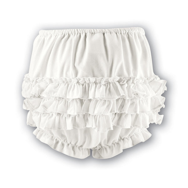 Sarah Louise  -  Baby girls ivory frilly pants 003760
