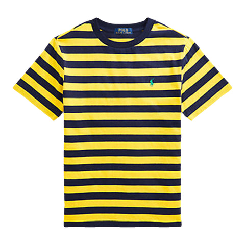 Boys Ralph Lauren navy and yellow stripe tee shirt  green signature polo pony on left chest  100% cotton  Machine washable 30*