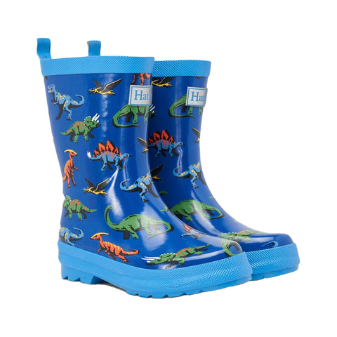 Hatley rain boots, wellies, Friendly Dinos  royal blue with multicoloured dinos  Handmade vulcanized rubber boots Waterproof Slip resistant soles Shiny finish Removable insole Always PVC-free Rubber mixture. Product code: S21DIK1366