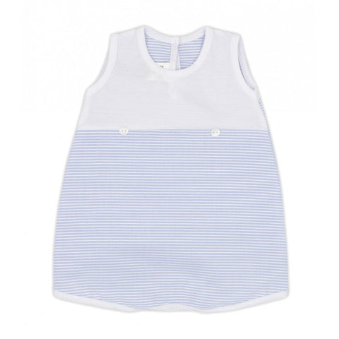 Ref: 4612   Rapife baby boys pale blue and white romper  white bodice, pale blue and white stripe bottom  2 buttons on front  100% cotton  Made in Spain  Machine washable 30*