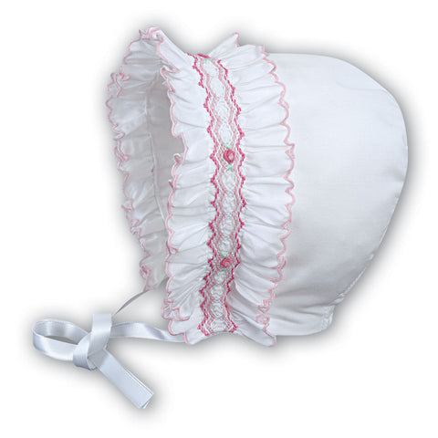 Sarah Louise - Bonnet, 003622P white with pink detail