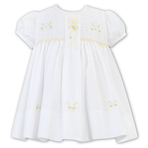 Sarah Louise - Hand smocked dress white with lemon, 011813