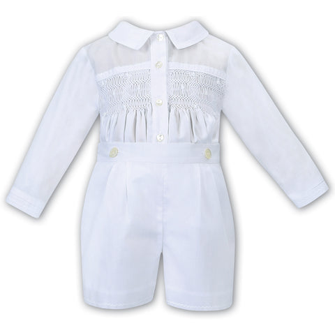 Sarah Louise - Boys white 2 piece set, shorts and shirt, 0116121