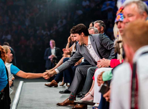 Justin Trudeau in novely socks