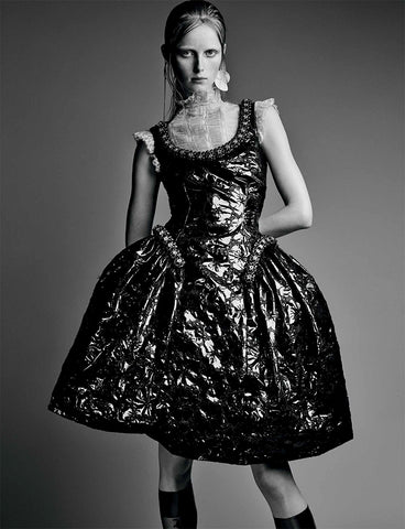 Ozone Design's floral damask sheer knee high with ballroom gown featured in interview magazine