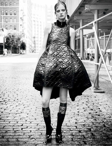 Ozone Design's floral damask sheer knee high on model in interview magazine
