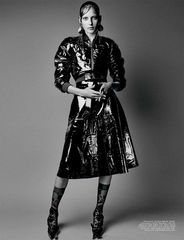 Ozone Design's black floral damask sheer knee high featured in interview magazine