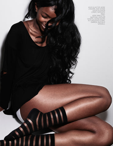 ozone design's black striped sheer socks featured in nue magazine