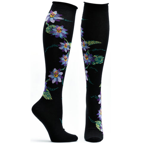 ozone design passionvine apothecary floral knee high socks