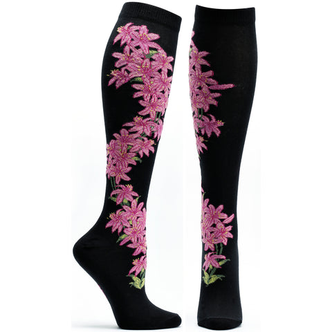 ozone design daylily apothecary floral knee high socks