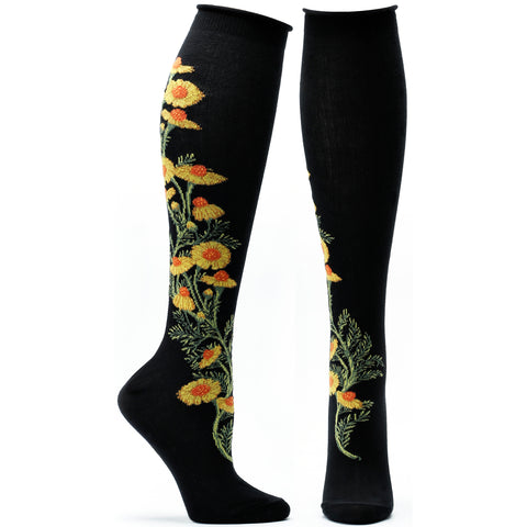 ozone design chamomile apothecary floral knee high socks