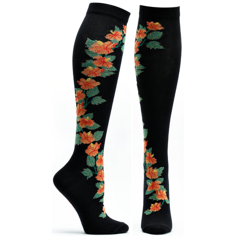ozone design hibiscus apothecary floral knee high socks