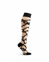 ozone design shibari cross women's knee high socks