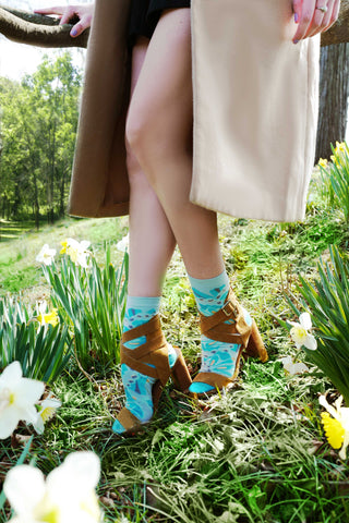 ozone design's papillion collage women's floral socks with sandals