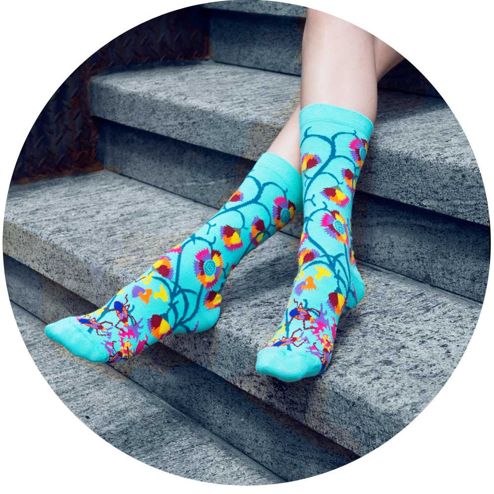 Buy fun and fashionable womens and mens socks, knee highs, over the knees, tights, ankle socks, floral socks, and sheers from Ozone Design