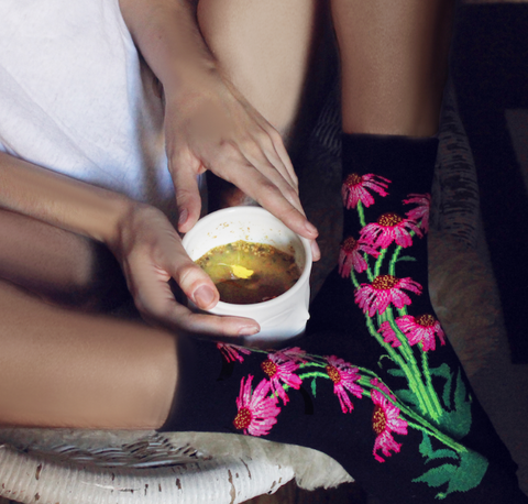 Buy women's floral socks from ozone design's online store.