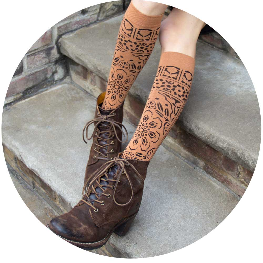 ozone design's lace mosaic womens floral socks with unique print