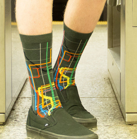 ozone design nyc subway map mens novelty socks