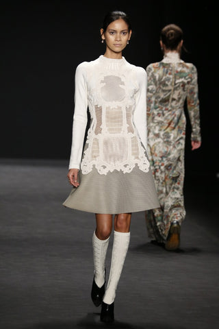 Floral damask white knee high sock from ozone design for vivienne tam runway