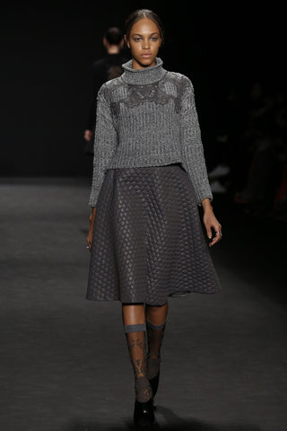 Floral damask knee high sock in grey from ozone design for vivienne tam runway