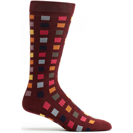 Square Flair Sock in Bordeaux size 10-13 mens geometrics from ozone socks