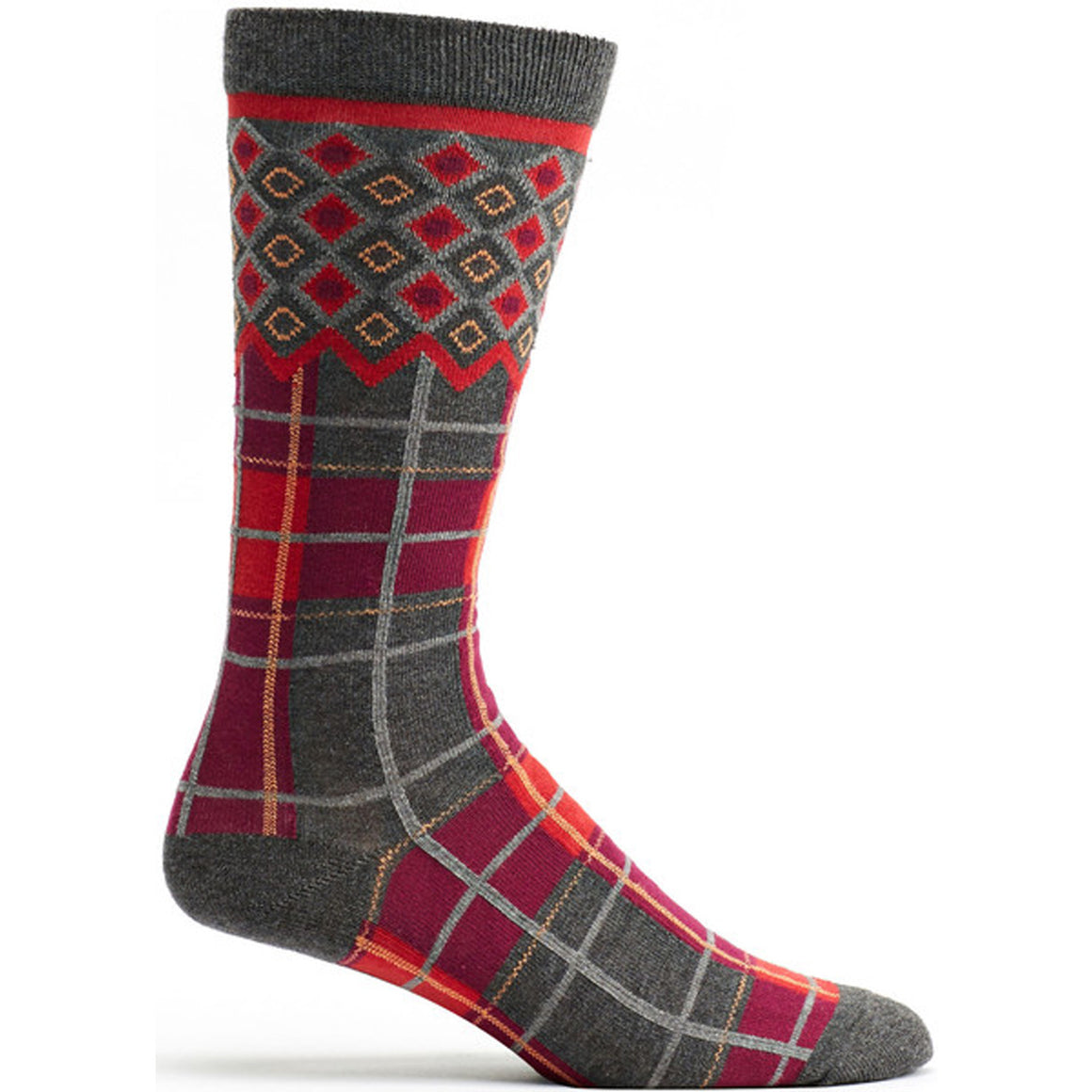 Laith Plaid Sock in Grey size 10-13 mens from ozone socks