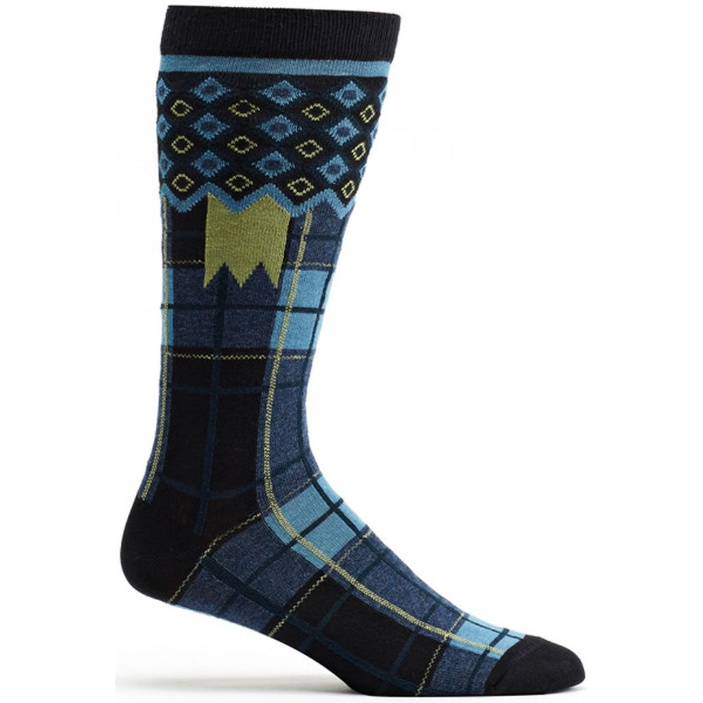 Laith Plaid Sock in Black size 10-13 mens from ozone socks
