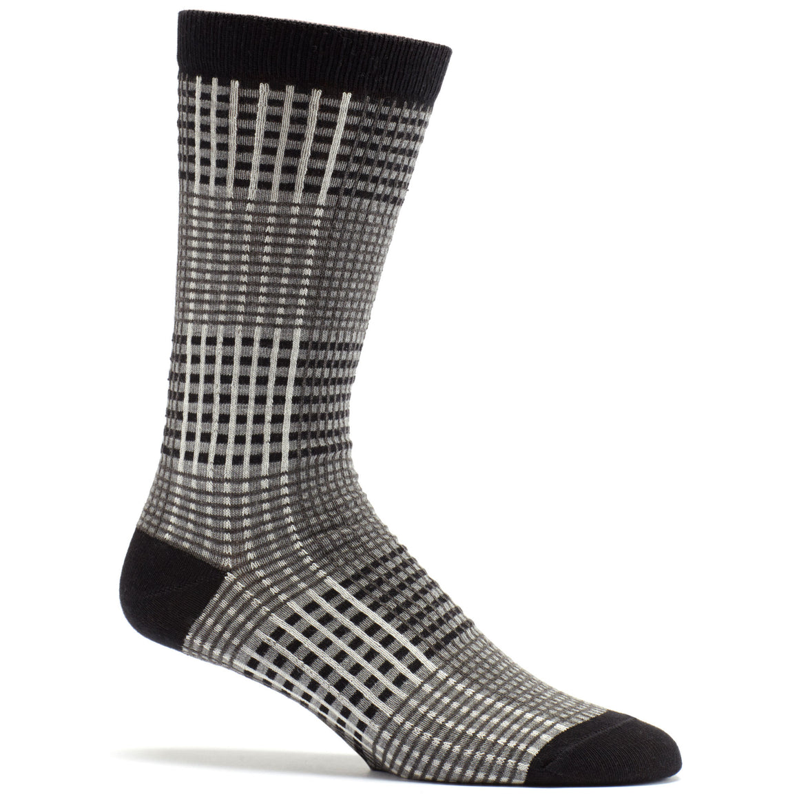 Ozone Design prince of wales mens plaid  Sock in black