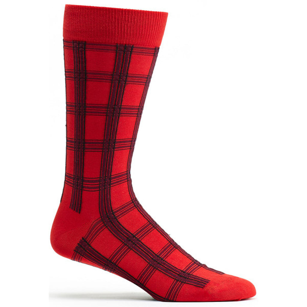 Mens Masaii Plaid Sock in Red size 10-13 mens from ozone socks