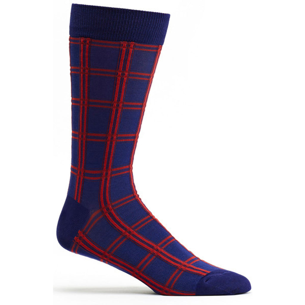 Mens Masaii Plaid Sock in Navy size 10-13 mens from ozone socks