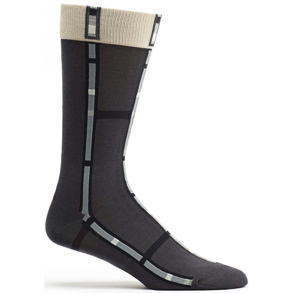 Mens Mondrian Stripe Sock in Grey size 10-13 mens from ozone socks