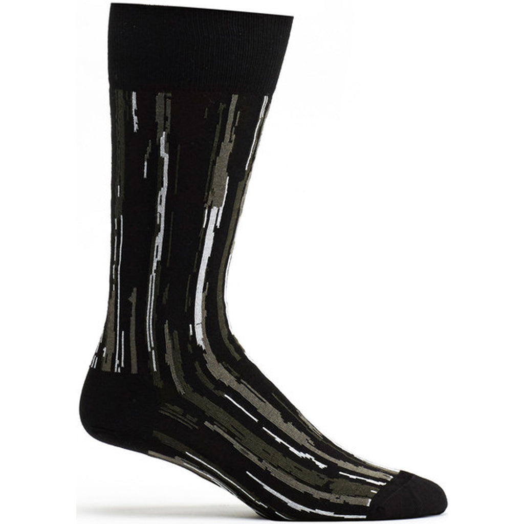 Mens Stripe Overlap Sock in Black size 10-13 mens from ozone socks
