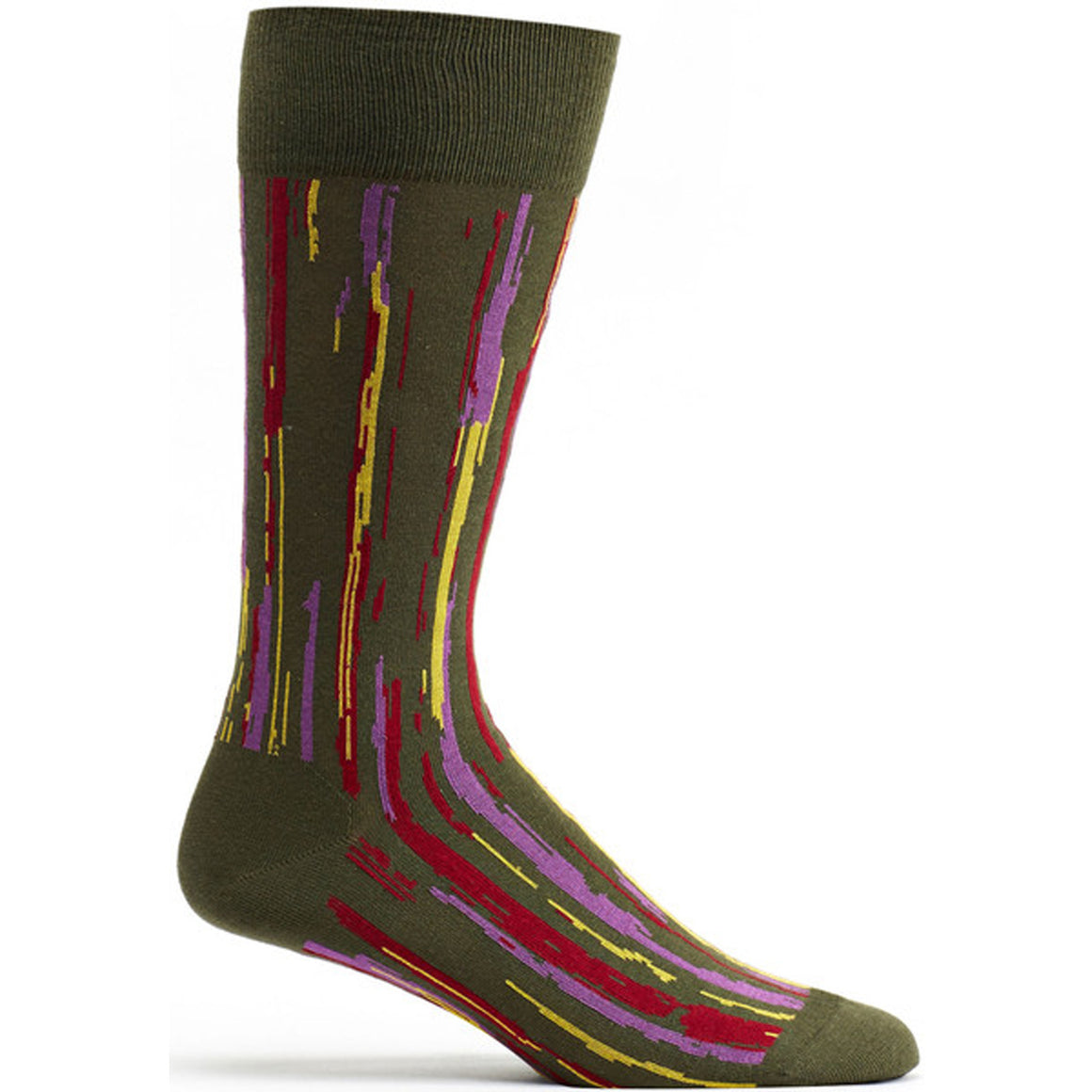 Mens Stripe Overlap Sock in Fougere size 10-13 mens from ozone socks