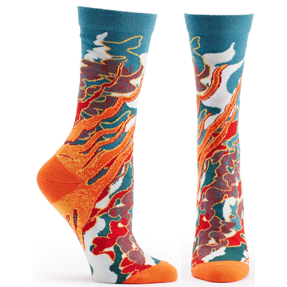 Both feet of Four Elements Fire Sock in Red size 9-11 womens novelty crew from ozone socks