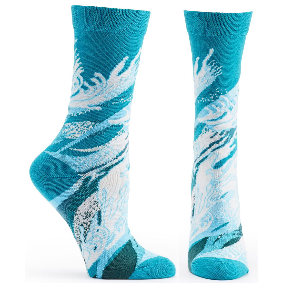 Both feet of Four Elements Water Sock in Blue size 9-11 womens novelty crew from ozone socks