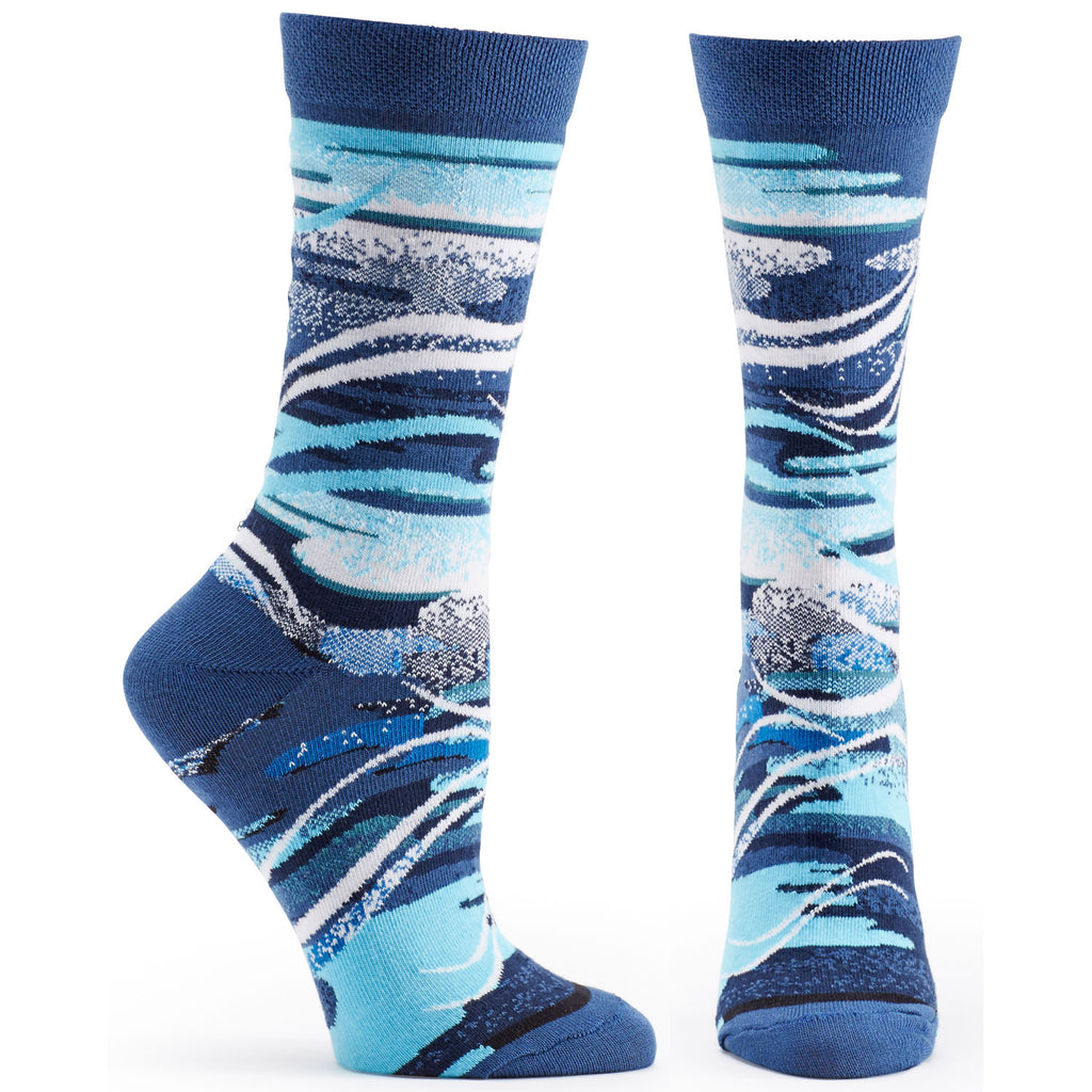 Both feet of Four Elements Air Sock in Blue size 9-11 womens novelty from ozone socks