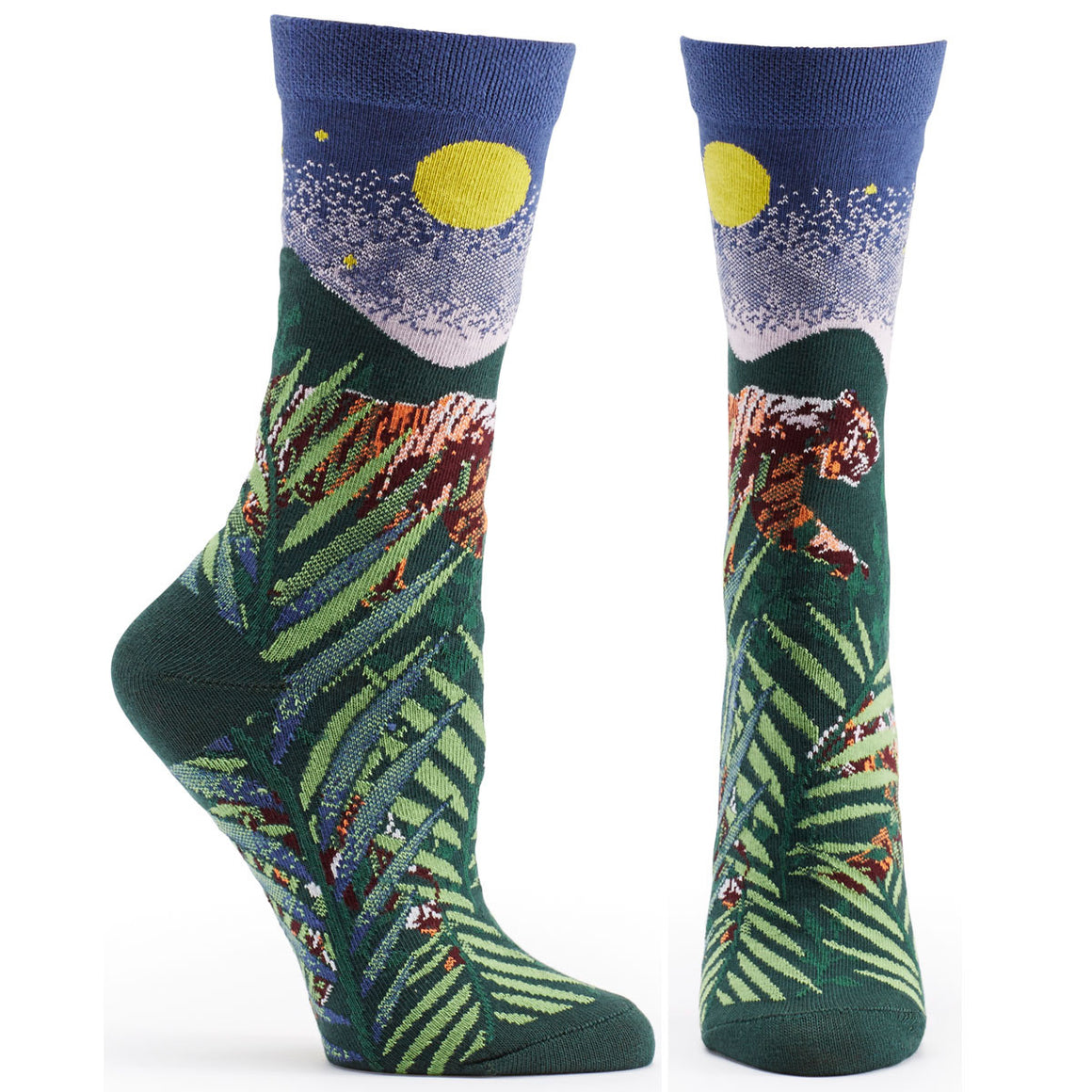 Ozone Design endangered cats tiger Womens novelty Sock in green