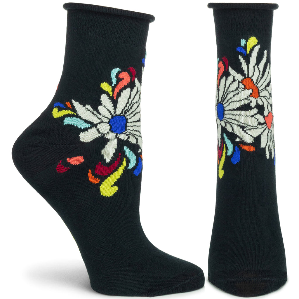 Psychedaisies Ankle Sock - Ozone Design Inc