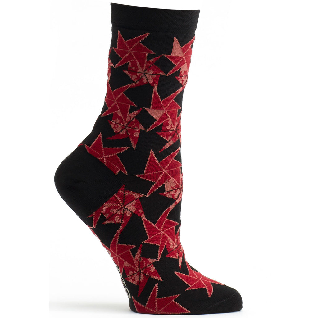 Origami Flower Sock in Black size 9-11 womens novelty crew from ozone socks