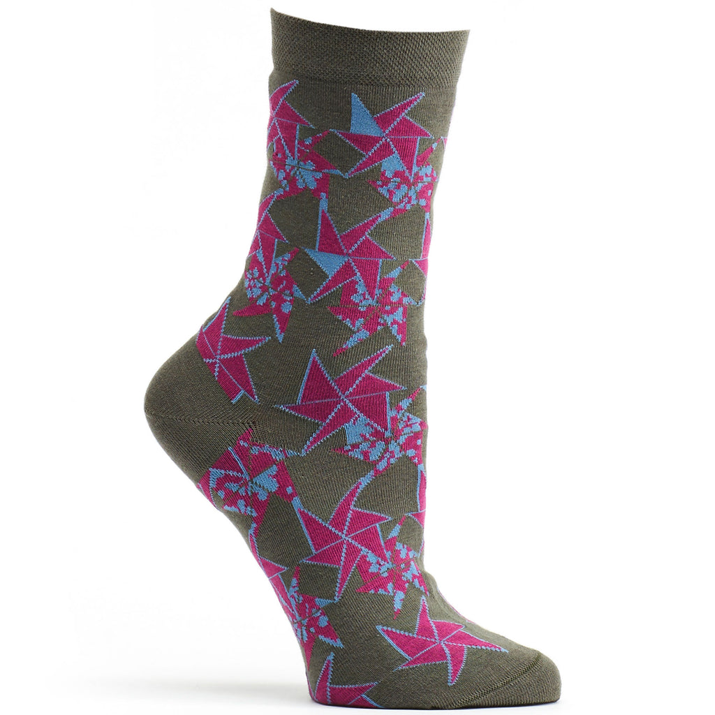 Origami Flower Sock in Grey size 9-11 womens novelty crew from ozone socks