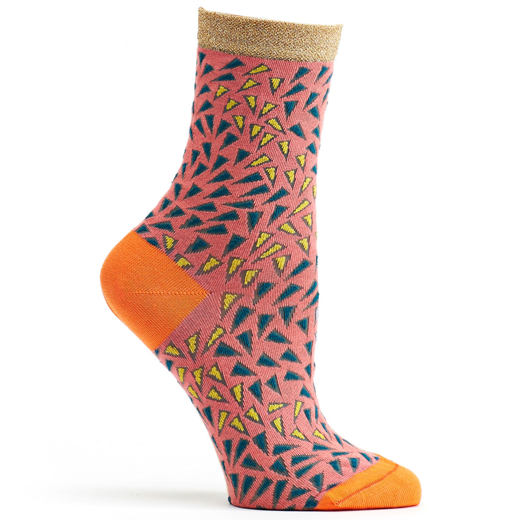 Wavy Prints Sock in Coral size 9-11 womens novelty from ozone socks