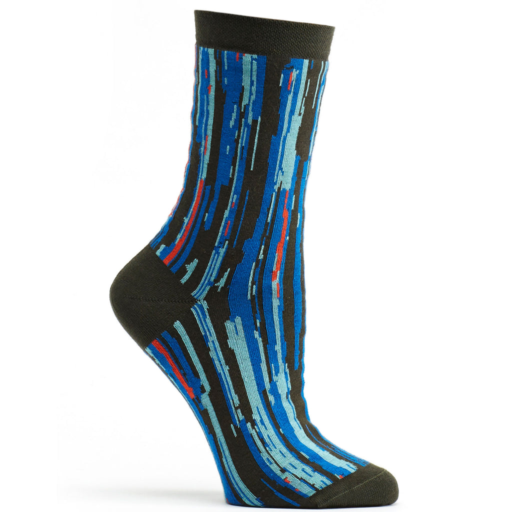 Ozone Design overlap striped womens novelty Sock in grey