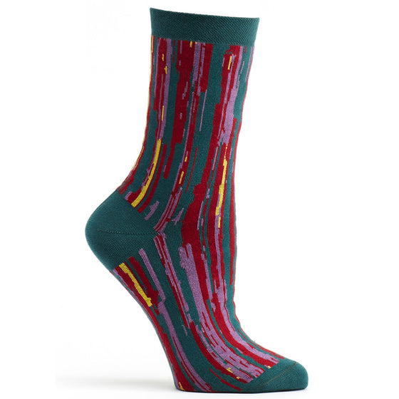 Ozone Design overlap striped womens novelty Sock in turquoise