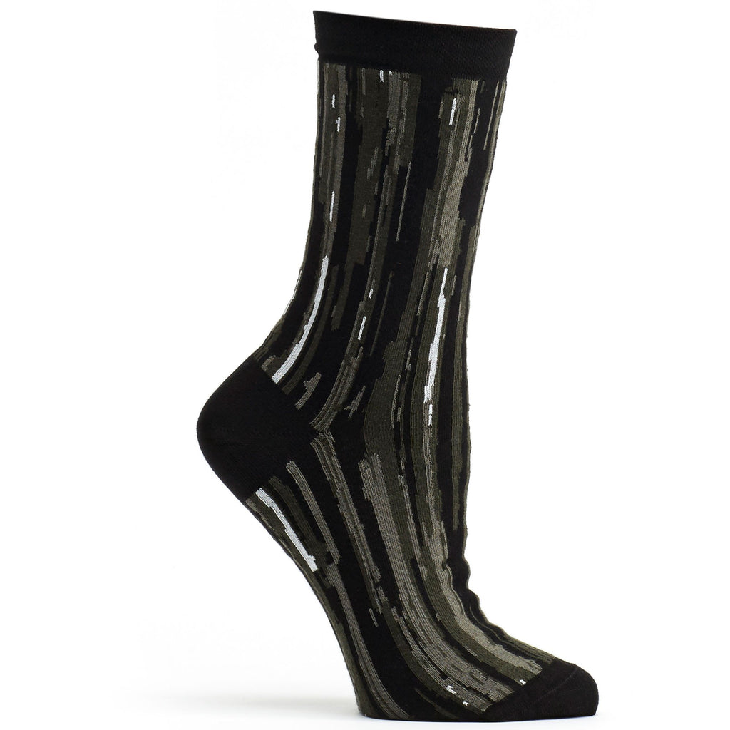 Ozone Design overlap striped womens novelty Sock in black