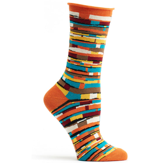 Fabric Pile Sock in Orange size 9-11 womens crew from ozone socks