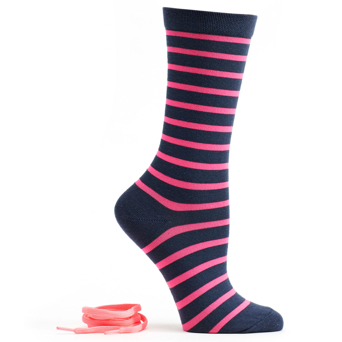 Stripes and Neon Socks and Shoelaces in Navy size 9-11 womens crew from ozone socks