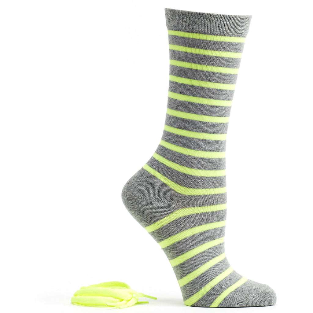 Stripes and Neon Socks and Shoelaces in Grey size 9-11 womens crew from ozone socks