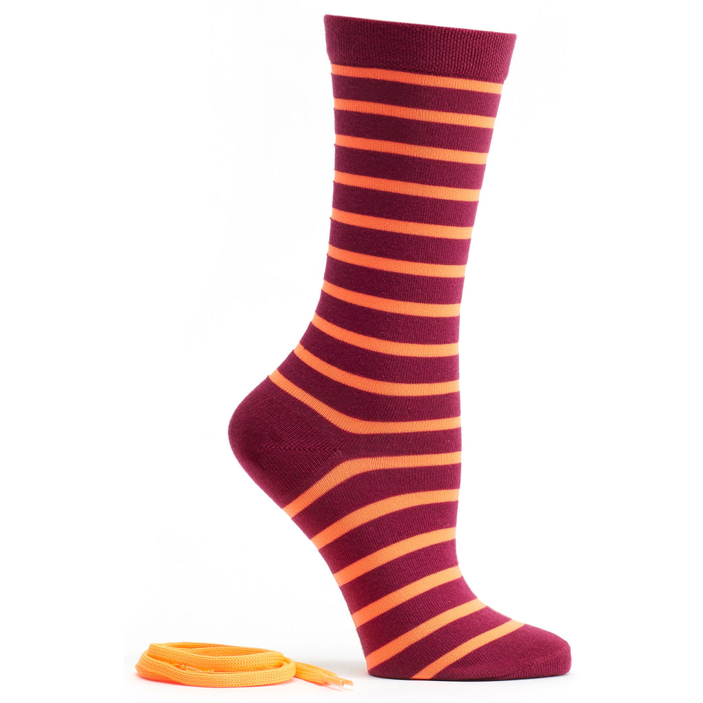Stripes and Neon Socks and Shoelaces in Eggplant size 9-11 womens crew from ozone socks
